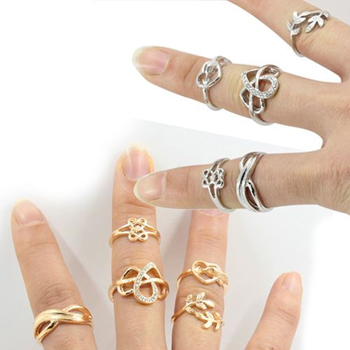 Women 5 Pcs Charm Above Knuckle Top Finger Midi Ring Set Jewelry Striking #seattle2003us
