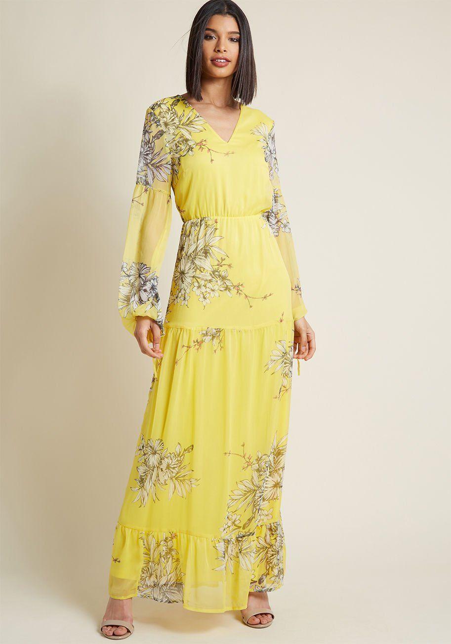 Garden Glamour Maxi Dress Modcloth Maxi Dress Yellow Floral Maxi Dress Dresses [ 1304 x 913 Pixel ]