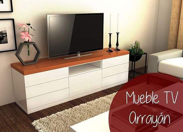 Mueble para tv Arrayan Laqueado en color Blanco semi mate combinado ...