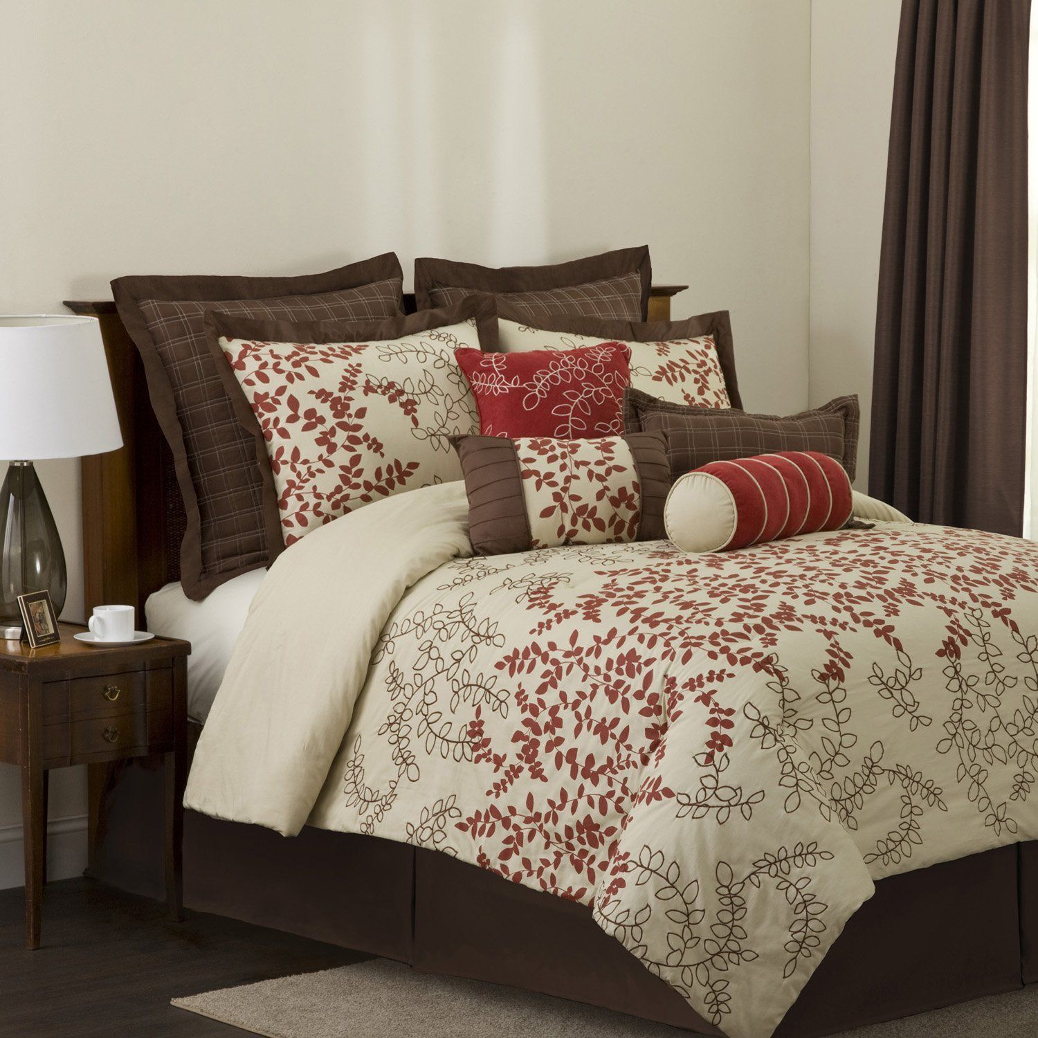 Brown and red bedroom - Lush Decor Hester 8 Piece Comforter Set Full Red Wheat Brown