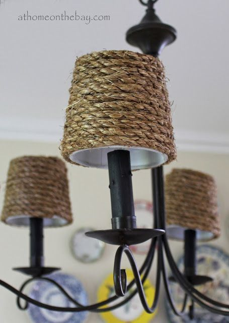 Diy Pottery Barn Inspired Chandelier Shades At Home On The Bay Pottery Barn Inspired Rope Chandelier Chandelier Shades