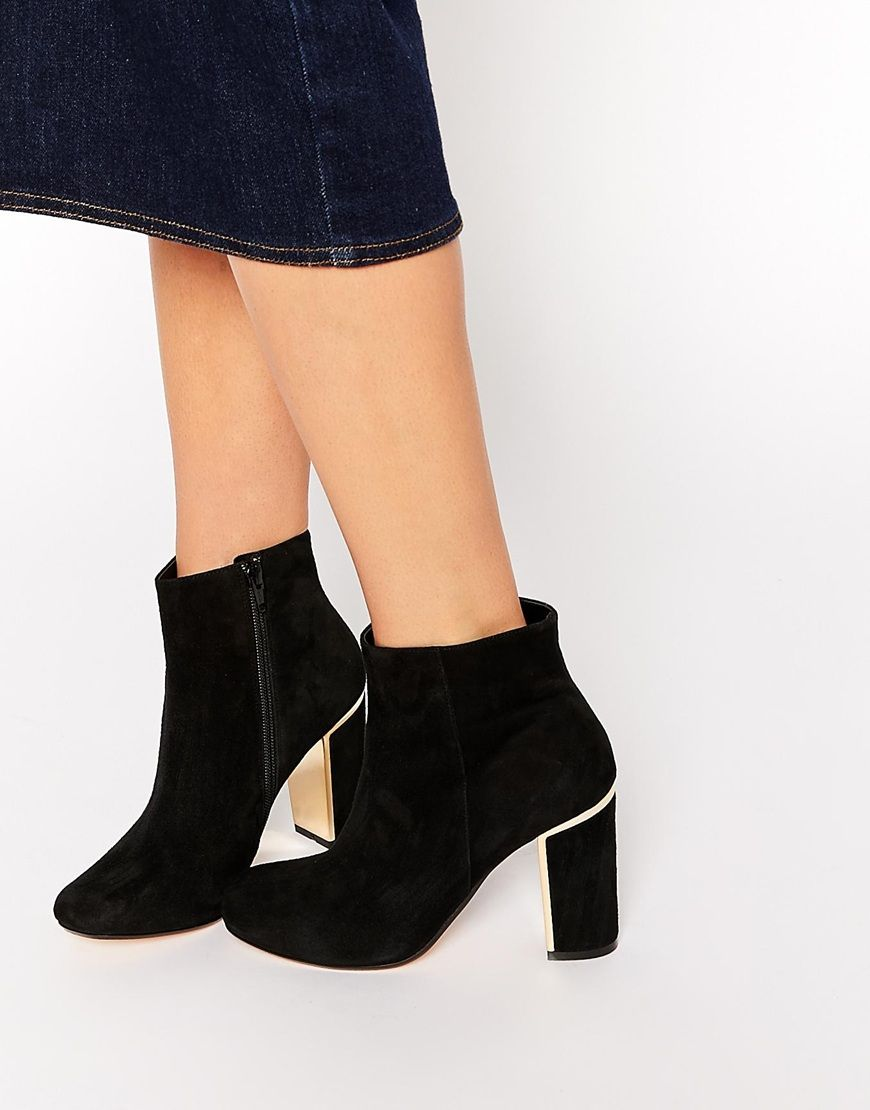 Buy Women Shoes / Dune Otta Black Suede Gold Detail Block Heel Boots