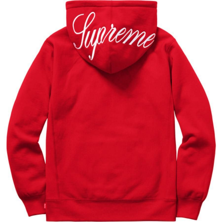 b14667b8a5f2 wearing Supreme Classic Script Hooded Sweatshirt in Red Hooded Sweatshirts