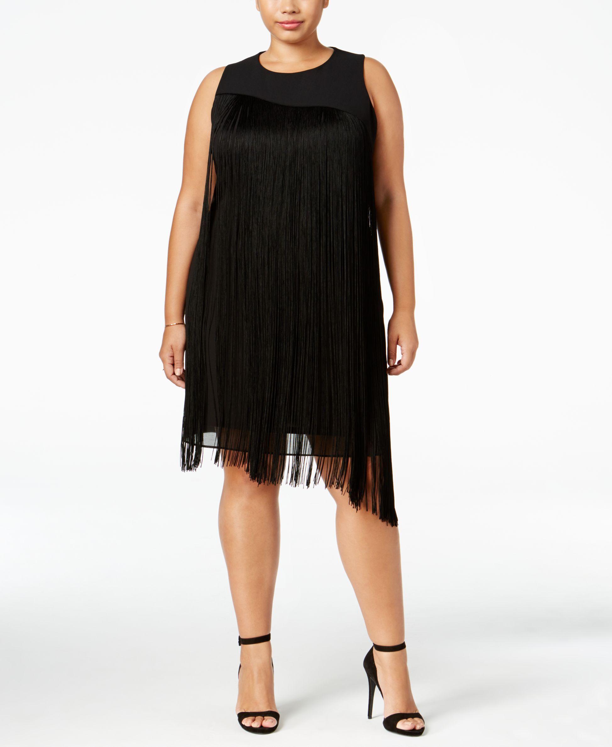 c9bc98a72a6 Rachel Rachel Roy Curvy Plus Size Asymmetrical Fringe Dress