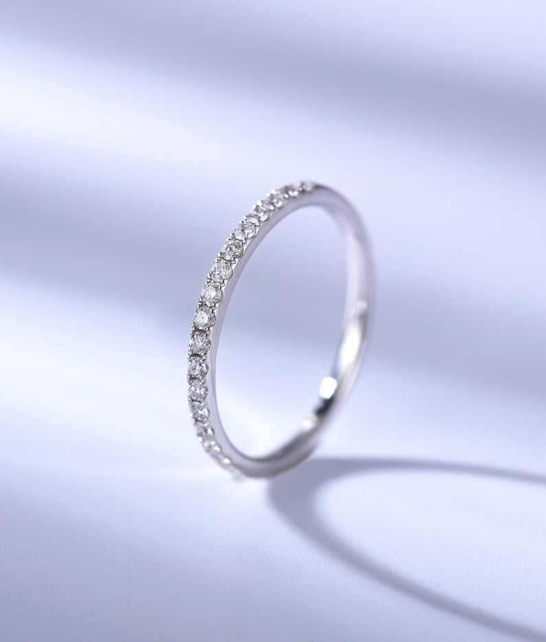 Unique wedding band vintage Yellow gold Seven stone Moissanite Promise Eternity Matching band women Diamond dainty Anniversary gift for her