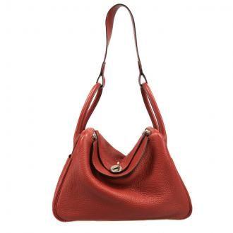 Authentic Hermès Rouge Clemence Leather 30 Cm Lindy