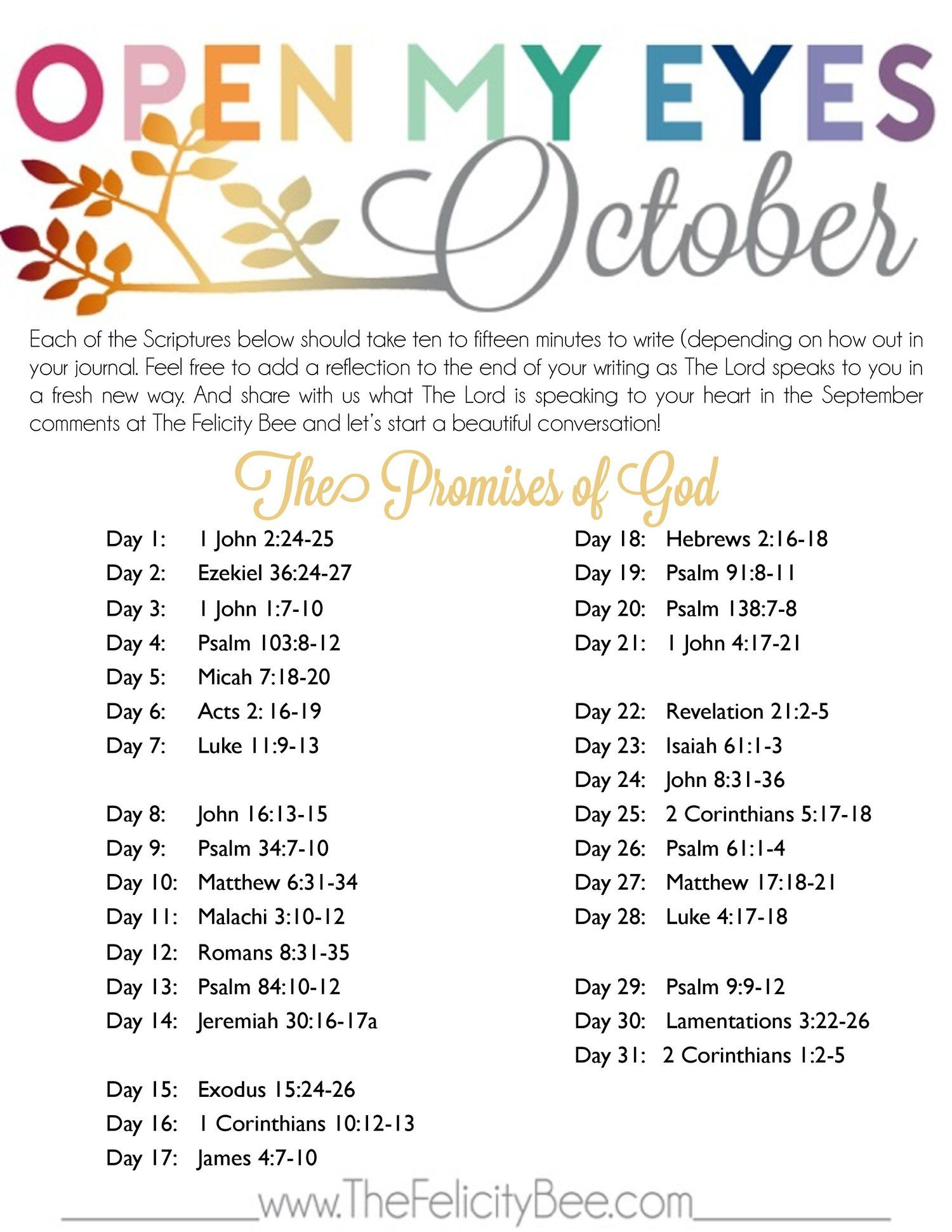 Sep 24 Open My Eyes October Scripture Writing Plan | Gods promises ...