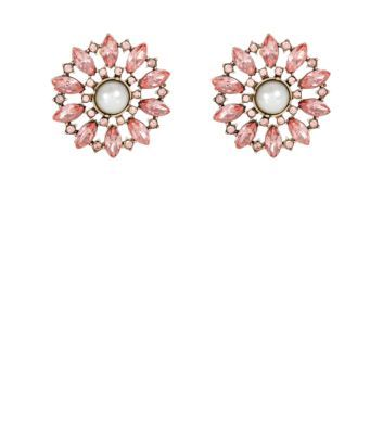 Shell Pink Gem and Pearl Flower Stud Earrings