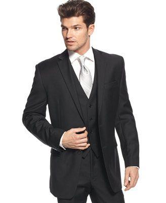 dfc50957b6dd0 Calvin Klein Jacket Black Solid 100% Wool Slim Fit Ternos Masculinos