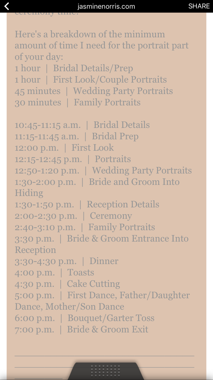 Sample timeline for a 2pm wedding  Adjust as needed   The Real Deal     Sample timeline for a 2pm wedding  Adjust as needed