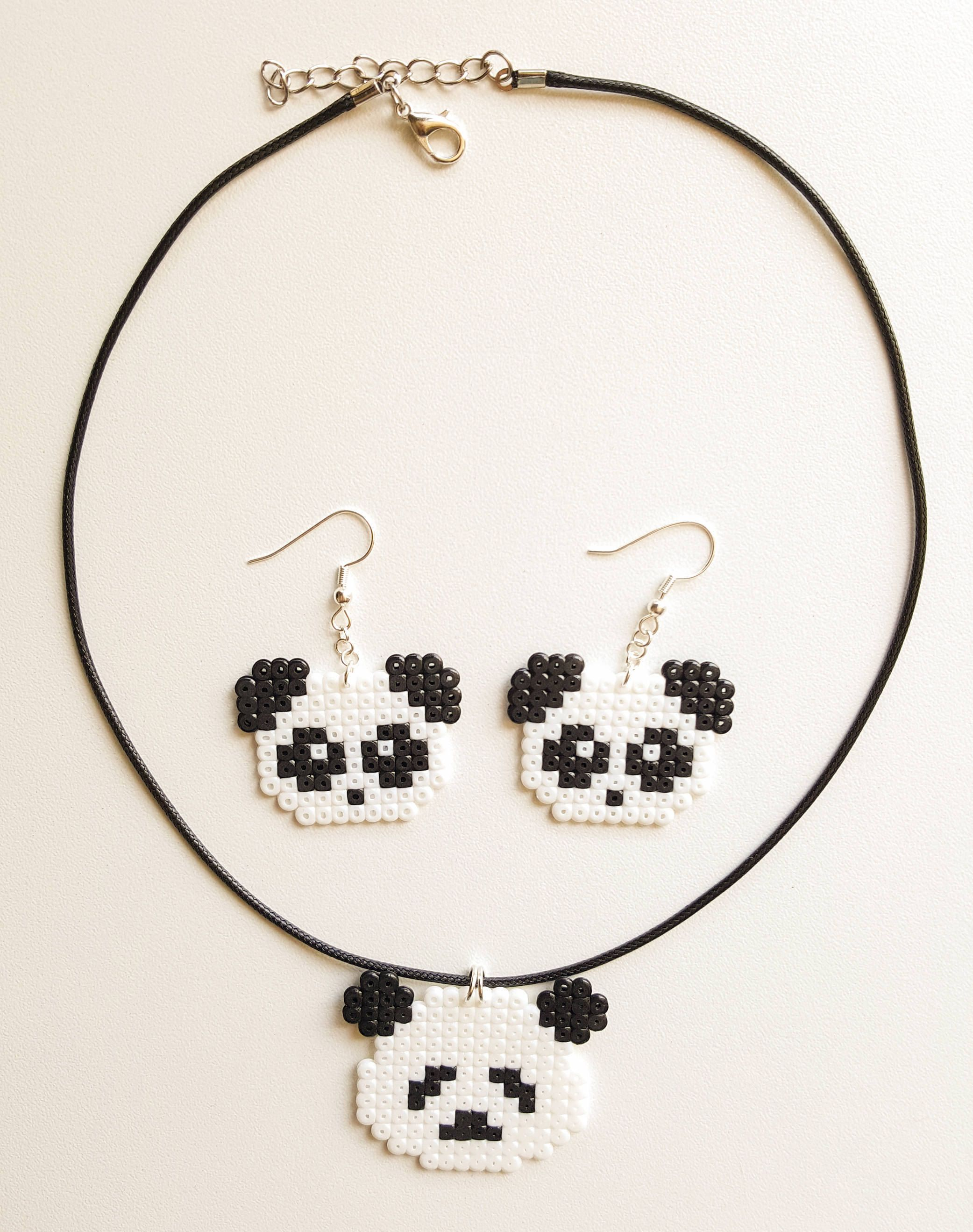 Cute Kawaii Panda Set Panda Earrings Necklace Pendant
