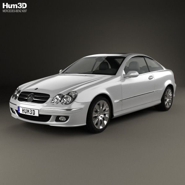 3d Model Of Mercedes Benz Clk Class C209 Coupe 2005 With Images