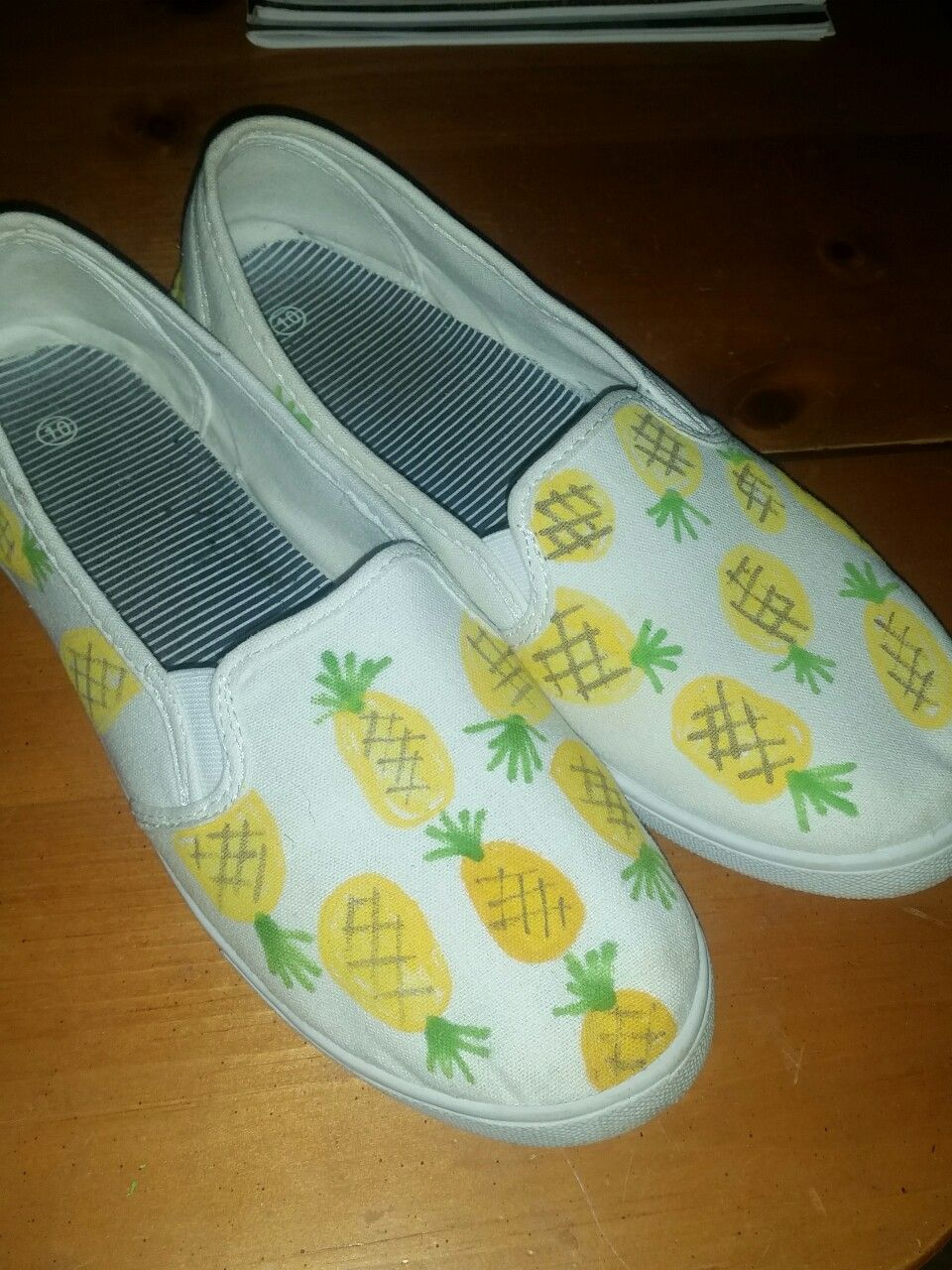 DIY pineapple shoes made with white canvas shoes from Walmart and sharpie  paint pens