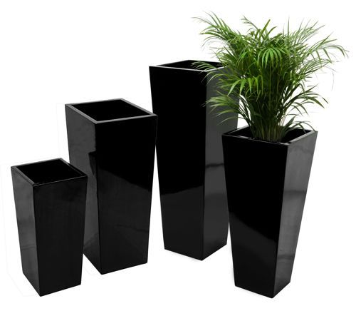 Tall Flared Square Fibreglass Planter Gloss Black Plant 400 x 300