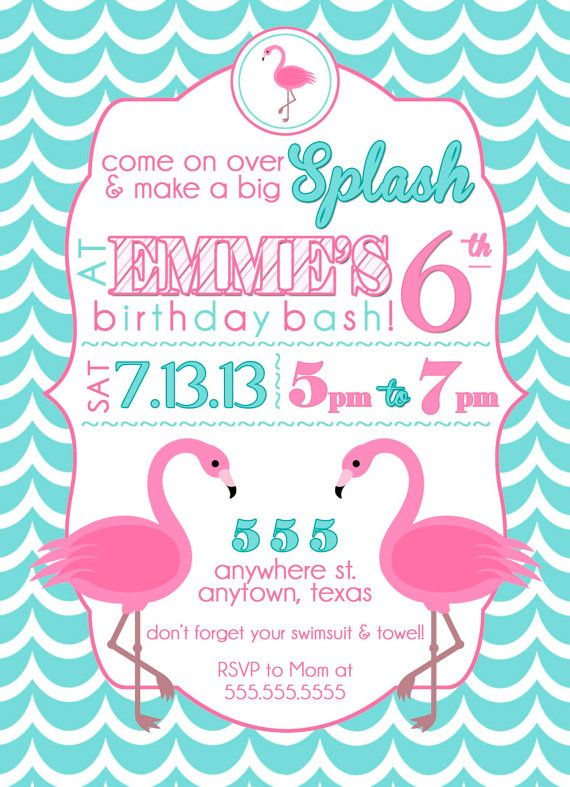 custom flamingo party invitation swim party by sayitlouddesigns