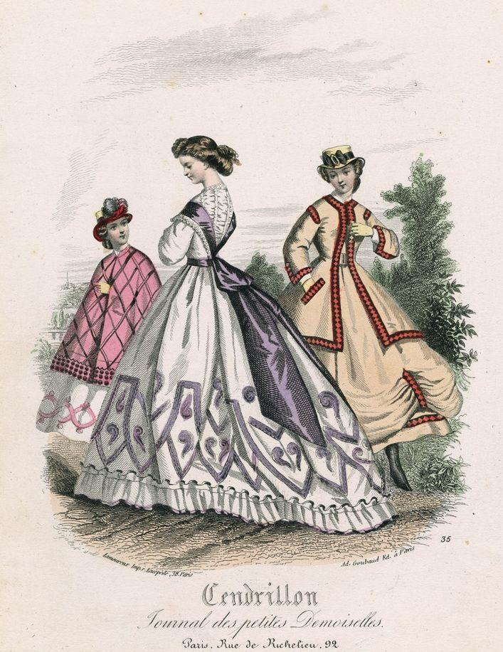 September fashions, 1864 France, Cendrillon