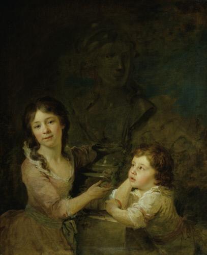 Johann Baptist Lampi der Ältere, Zwei Kinder aus der Familie des Grafen Thomatis, 1788–1789, Öl auf Leinwand, 98 x 80 cm, Belvedere, Wien, Inv.-Nr. 2428\nBelvedere, Wien