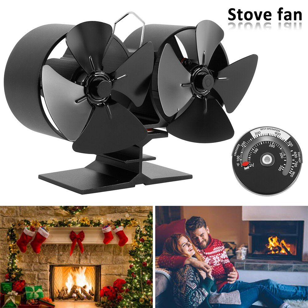 Free Ship Black Fireplace 8 Blade Thermal Heat Powered Pellet Stove Fan Oven Wood Burner Eco Fan Tools For Decorative A Black Fireplace Stove Fan Wood Burner