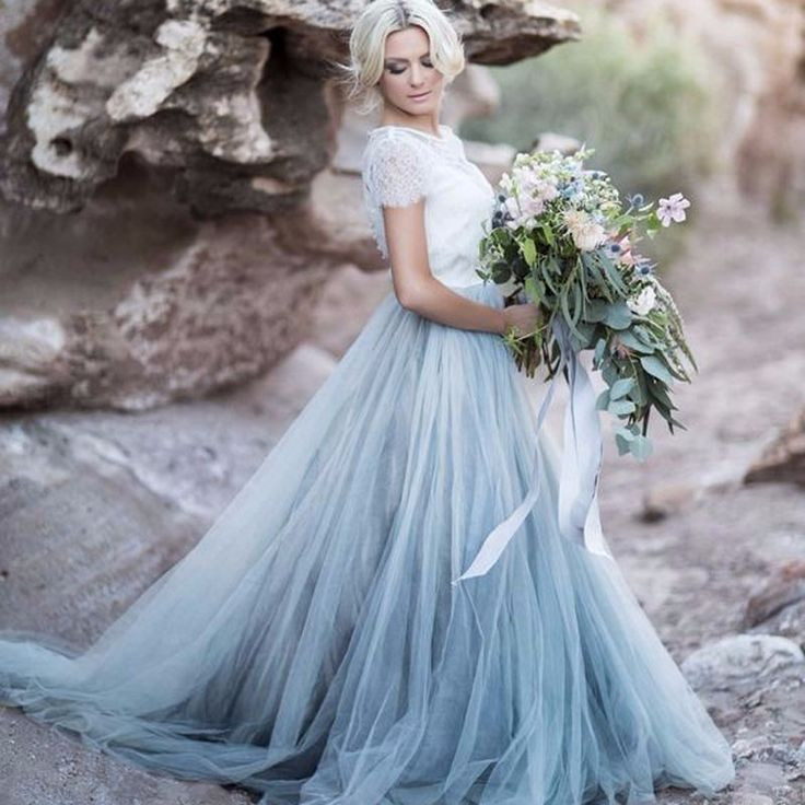 Romantic Sky Blue Long Tulle Skirts With Lace Short Top Puffy Tutu ...