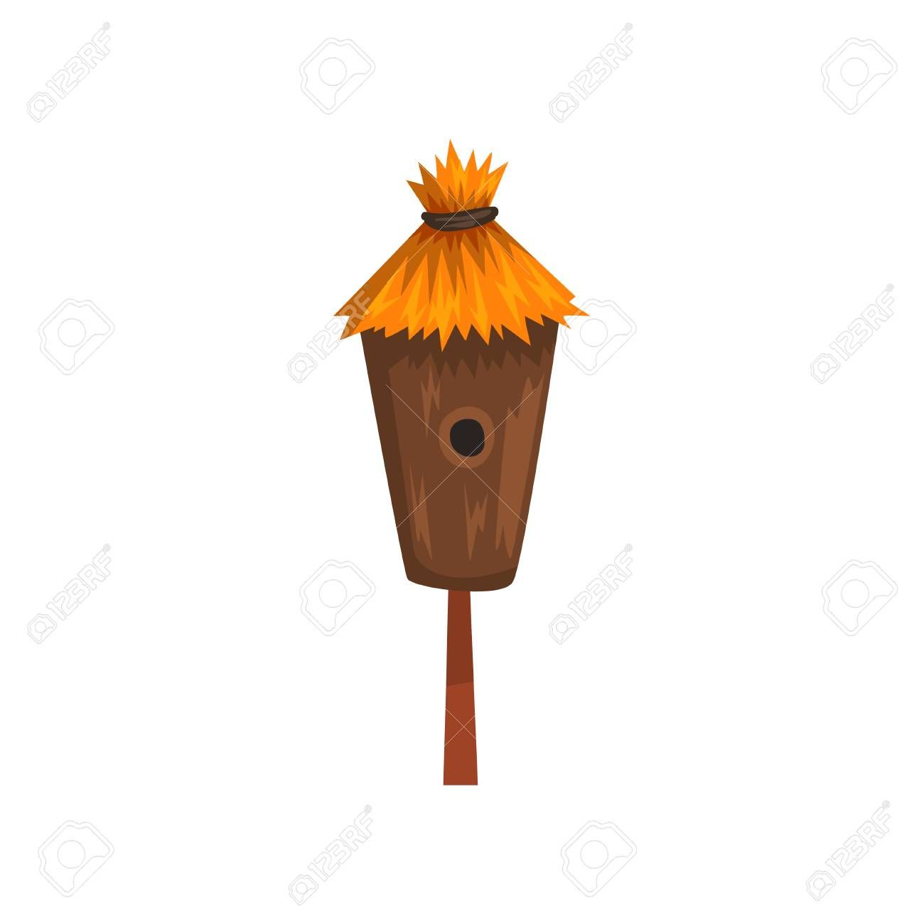 Bird House With A Thatched Roof Nesting Box Cartoon Vector Illustration On A White Background Aff Roof Nesting Th Bird House Roofing Felt Nesting Box