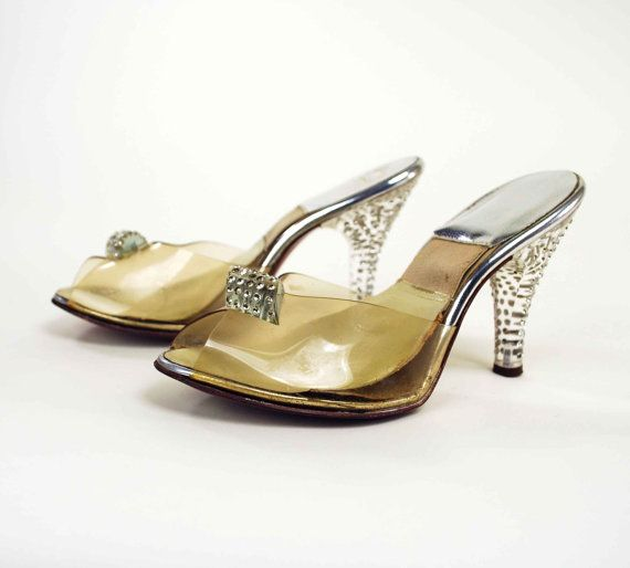 1950s Rhinestone Lucite Heels    Vintage Qualicraft Spring-o-later High Heel  Shoes    X-Small