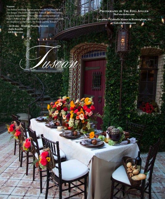 Summer Tablescape, Tuscan Wedding. Love The Blend Of