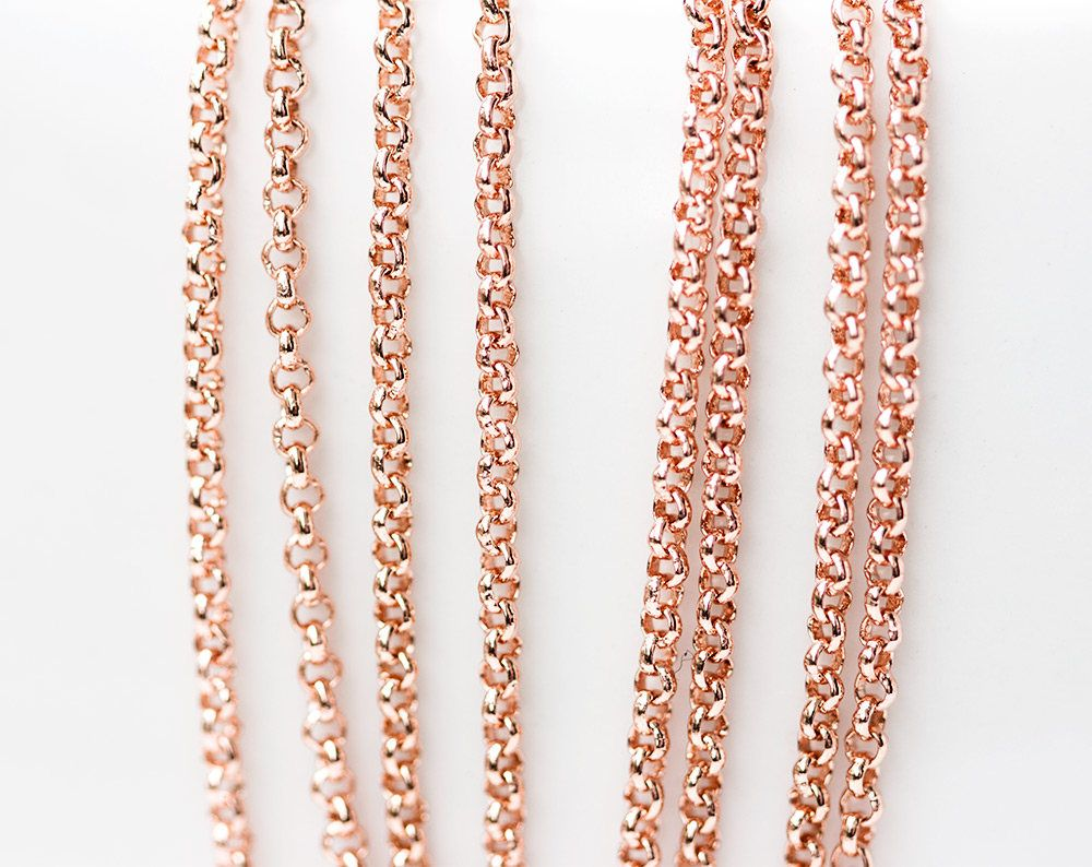 2629Rose gold chain 16 mm Rolo chain Gold plated chain Brass