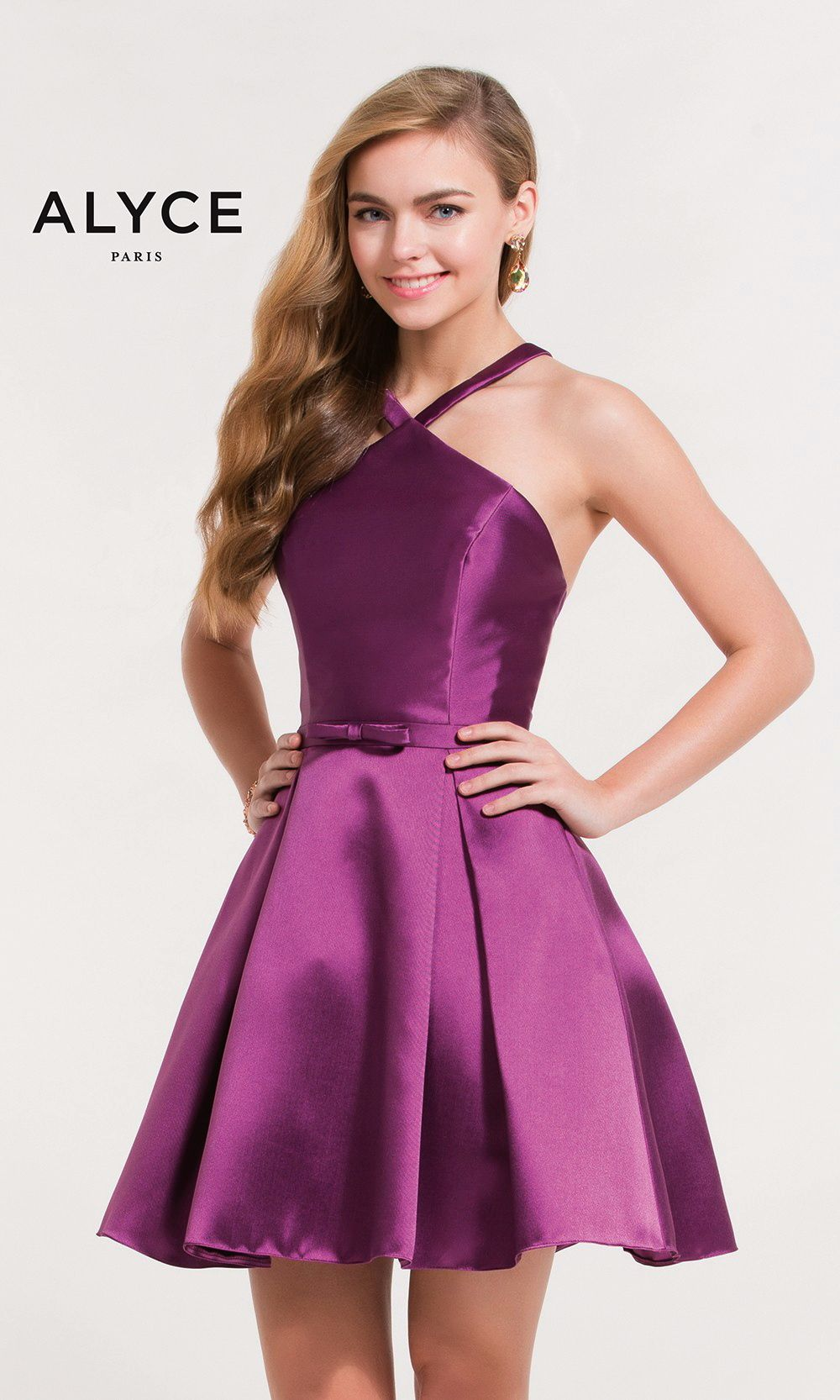 da69aafa20 Short Evening Dresses Homecoming Dresses by ALYCE PARIS aay3702 Short halter  top mikado dress with small detailed bow at waist and strappy open back.