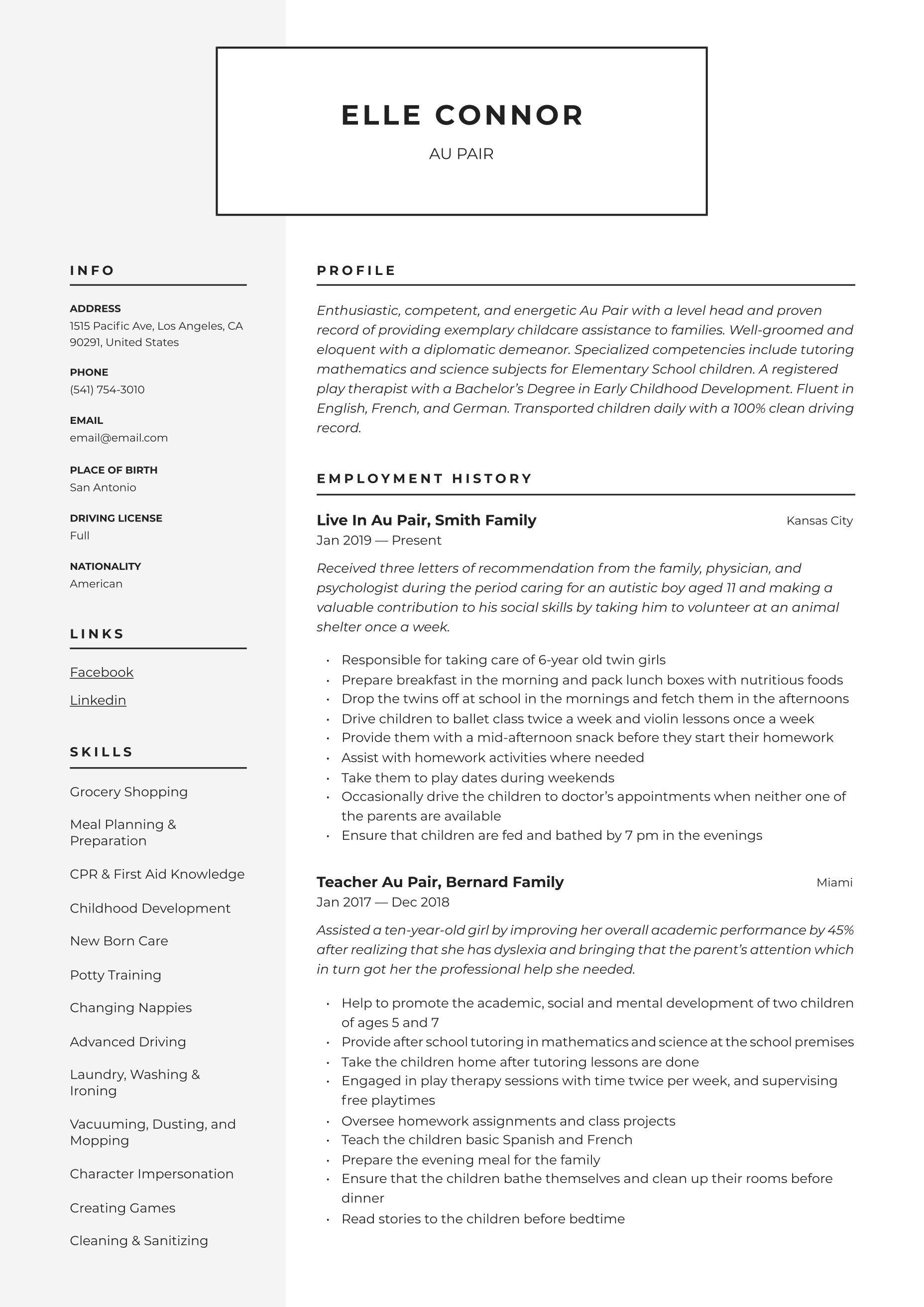 Au pair resume template in 2020 resume guide server