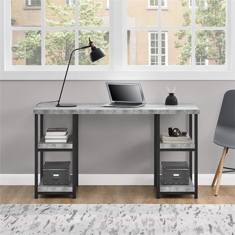 Ameriwood Home Ashlar Desk, Concrete Gray Grey desk