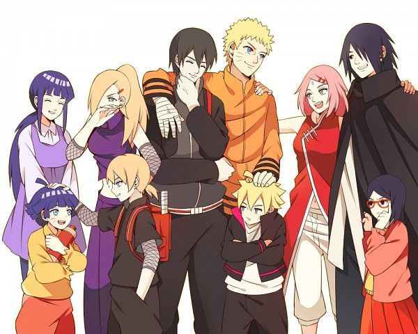 naruto and hinata family and sasuke and sakura family ...