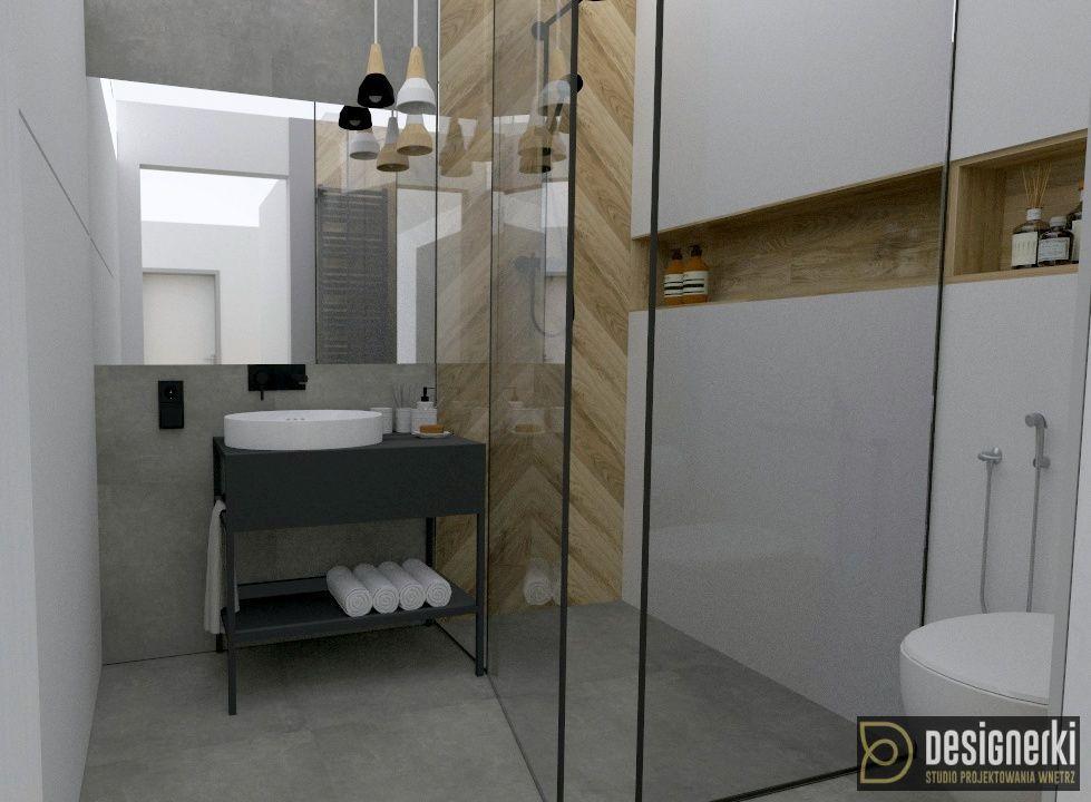 Small Bathroom Mala Lazienka Biel Drewno Szklana Kabina