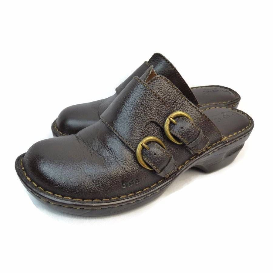 BOC Born Concept Leather Clogs Shoes Women's Size 9 M Black Mules