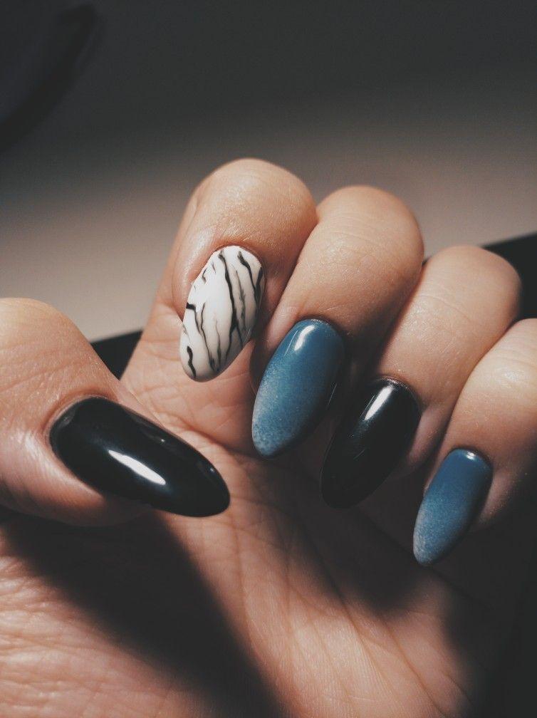 Black Marble And Blue Baby Boomer Stiletto Almond Nail Art Unas Azules Unas Decoradas Unas