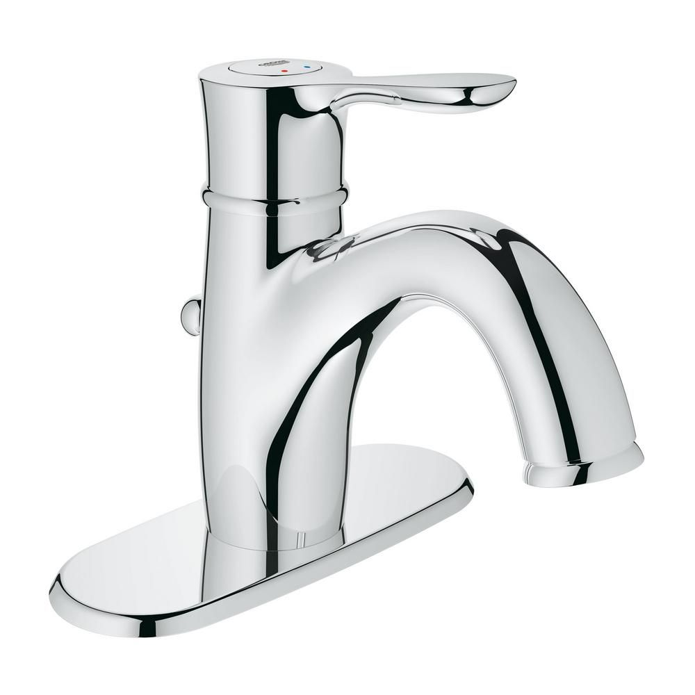 Grohe Parkfield Single Hole Single Handle 1 2 Gpm Bathroom Faucet In Starlight Chrome 2330600a The Home Depot Bathroom Faucets Faucet Single Hole Bathroom Faucet [ 1000 x 1000 Pixel ]