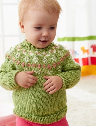 Girls' Garden Flowers Fair Isle Yoke Sweater - Knitting Patterns ...
