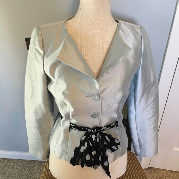Kay Unger Shimmering fitted blazer Kay Unger dressy blazer. Shimmering ice blue, graceful lines looks so elegant. Looks fantastic with a black shirt or pants. Kay Unger Jackets & Coats