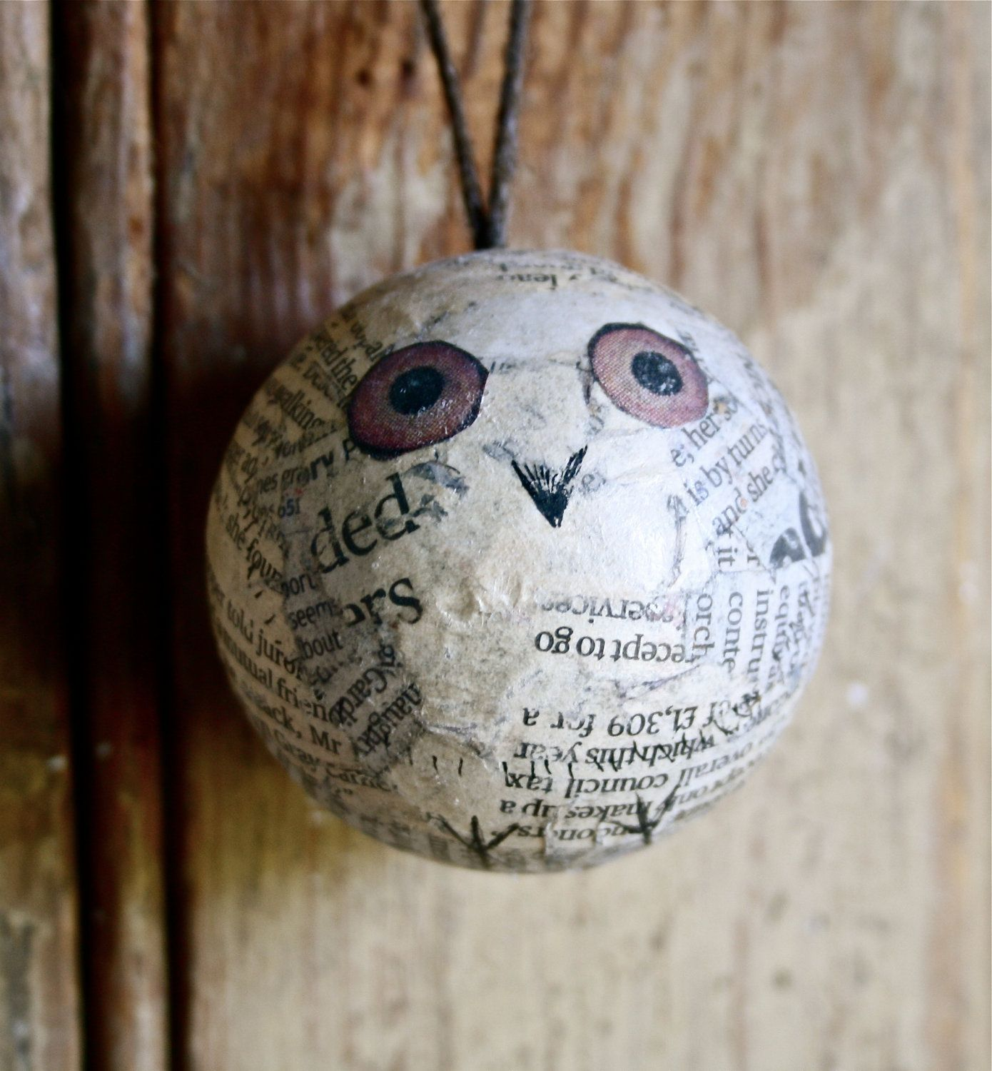 Owl collage newsprint  bauble.