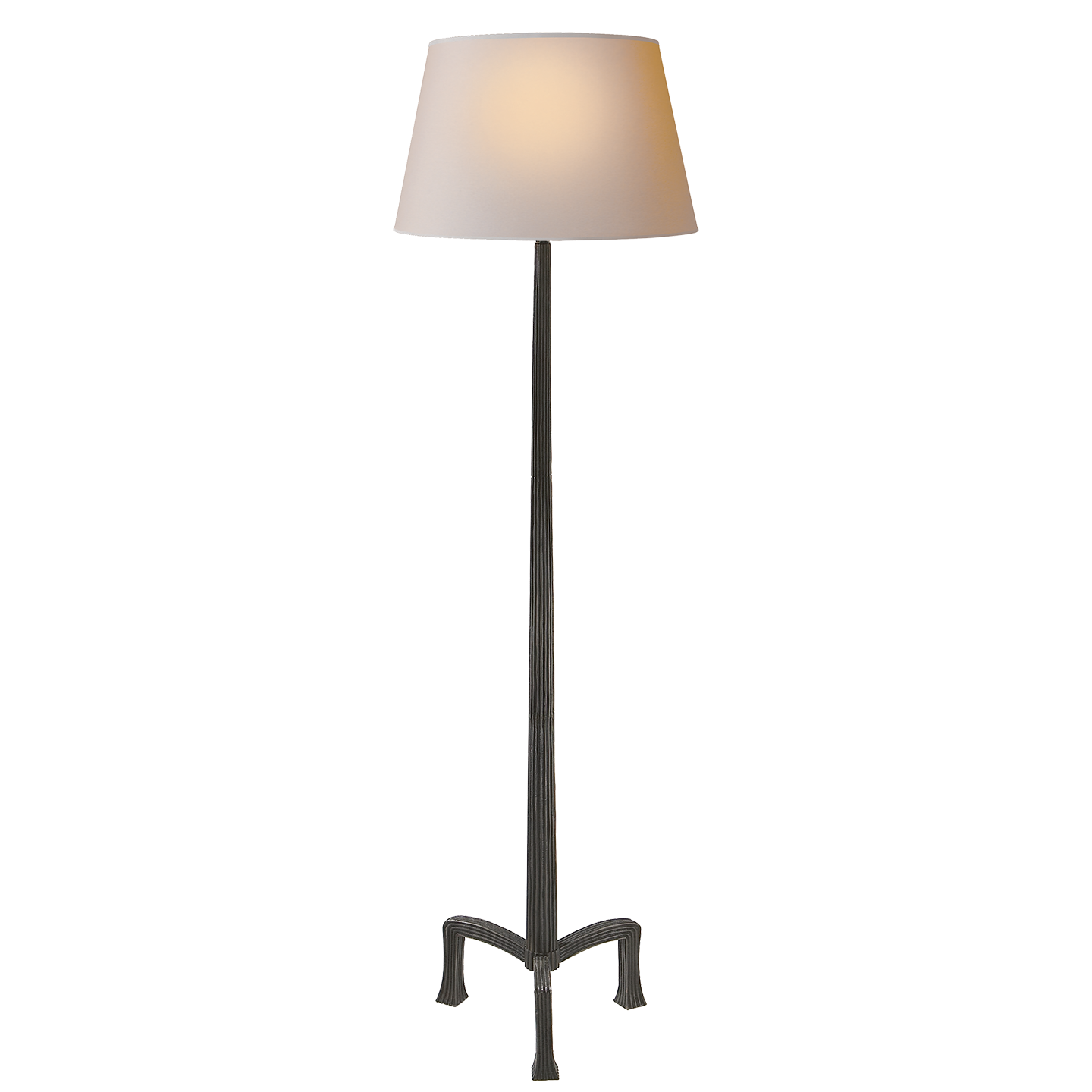 Strie Floor Lamp In Aged Iron With Natural Paper Shade 630