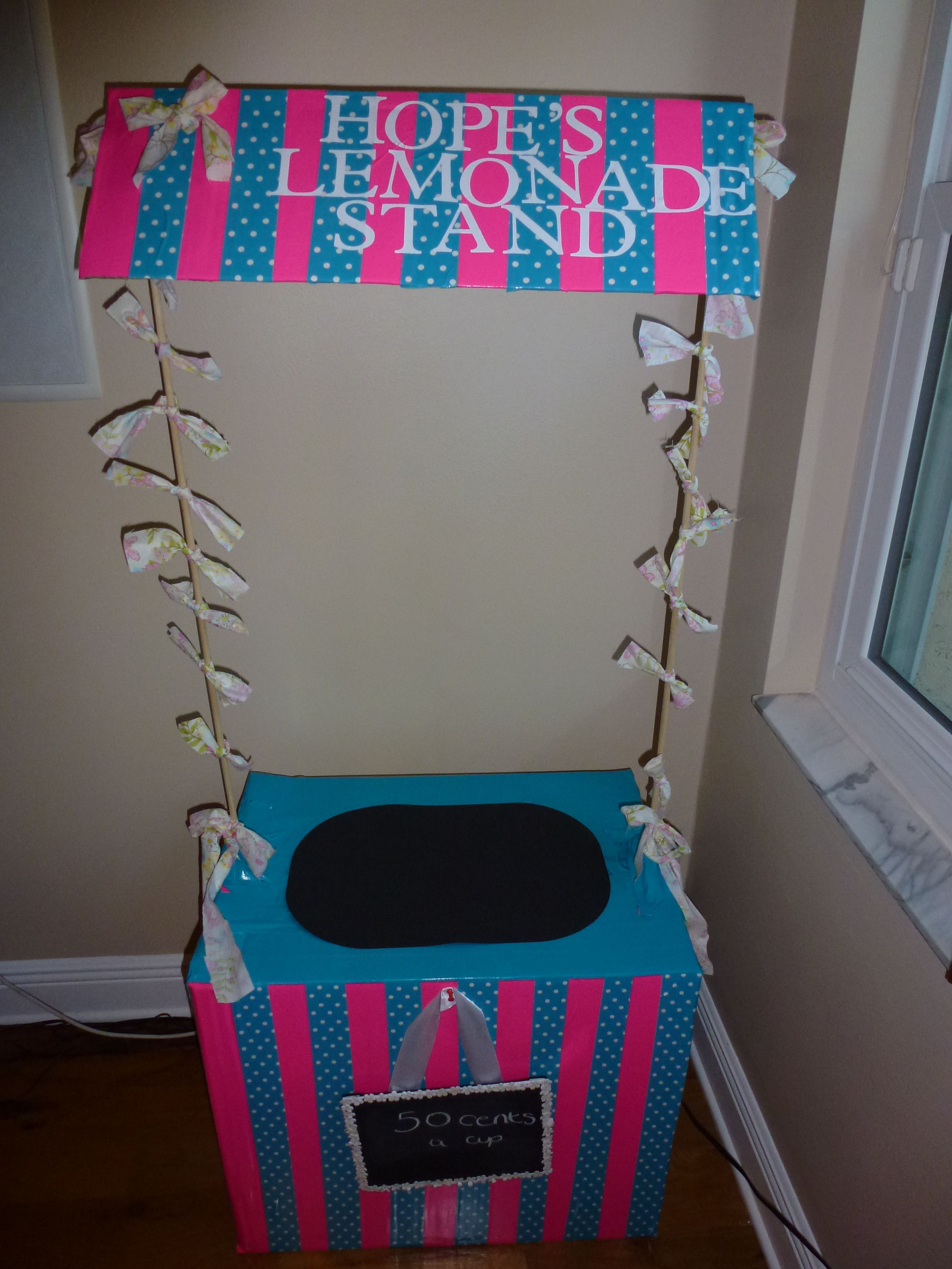 Upcycled an old cardboard box and made a Lemonade stand
