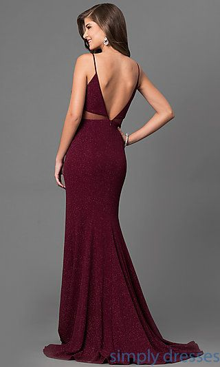Metallic Print Burgundy Red Junior Long Prom Dress Cute Prom