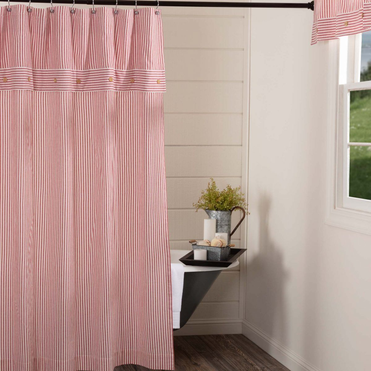 Farmhouse Ticking Red Shower Curtain With Images Red Shower Curtains Shower Curtain Curtains