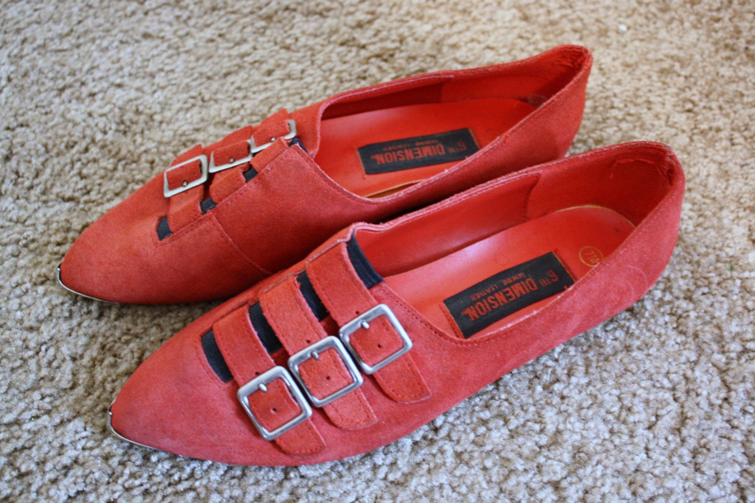 9c18f3bb688b1 Red Suede Vintage 80s Pointed Buckle Flats Winklepicker Style Goth ...