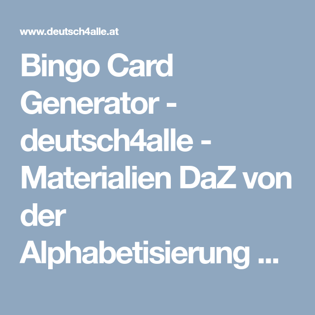 Bingo Generator Deutsch