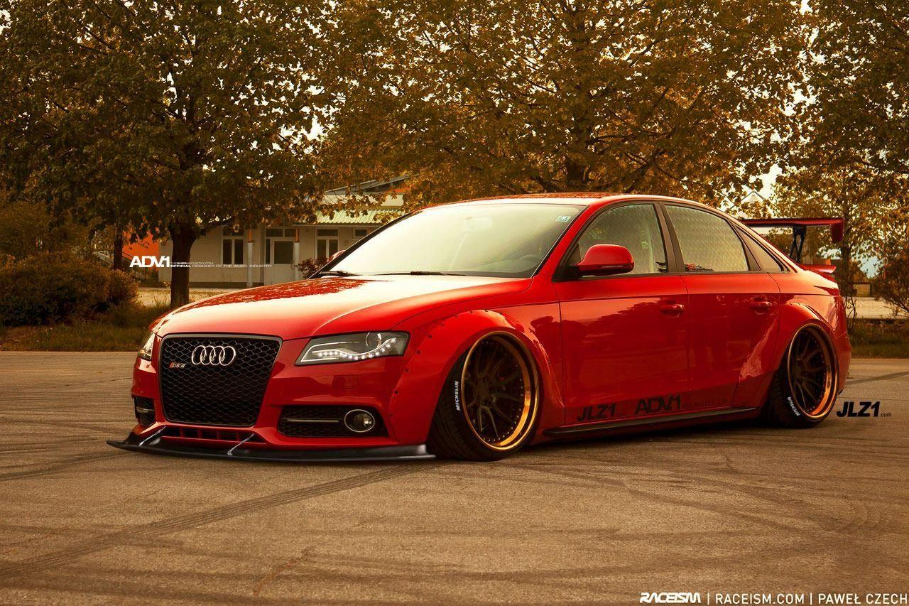 Audi A4 B8 Modified Custom Wide Body Slammed Bagged Stance Adv1 Rims Jlz1 Red