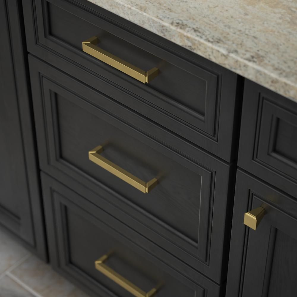 Liberty Modern Notched 5 1 16 In 128mm Center To Center Brushed Brass Drawer Pull P38773 In 2020 Brass Kitchen Hardware Brushed Brass Hardware Gold Kitchen Hardware