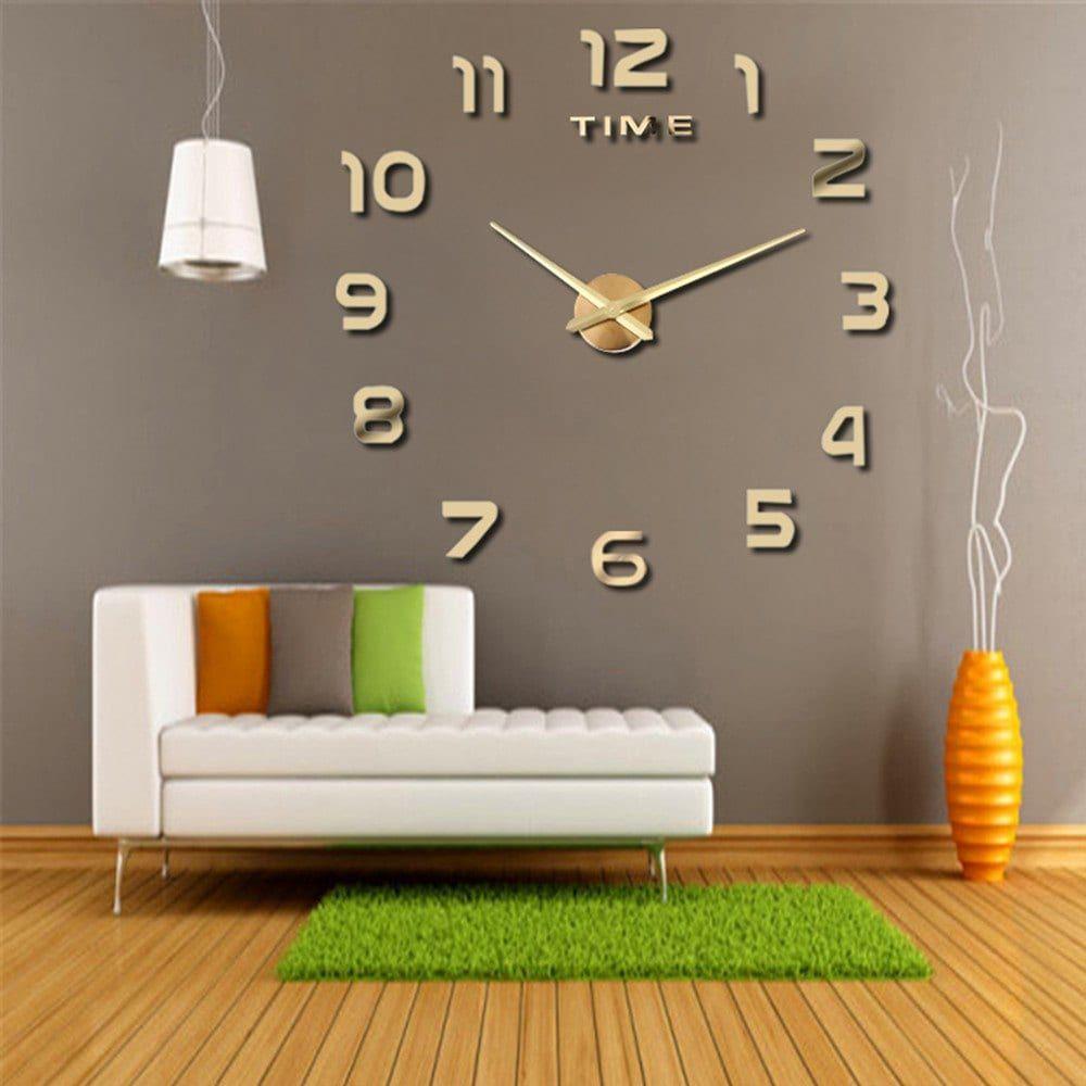 Living Room Big Clock 3d Creative Art Wall Stick Watch Diy Clock