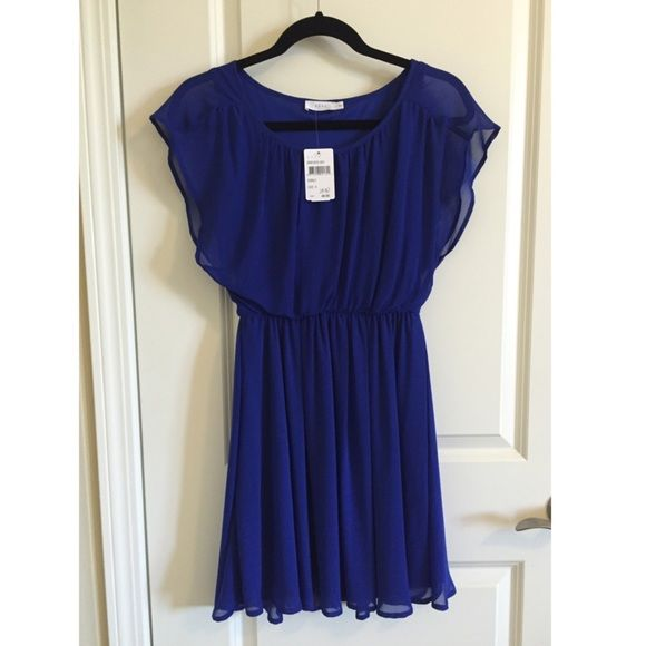 37bf99994482e Lush Royal Blue Dress A brand new chiffon dress w/flutter sleeves ...