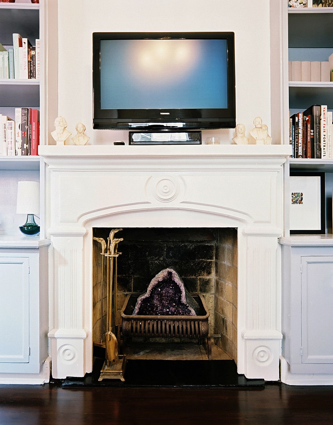 white fireplace design | Above Fireplace Design Ideas With White Wall Painted Awesome Fireplace ...