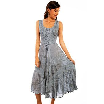 scully honey creek lace front sleeveless dress  ash grey